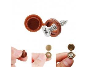 100 pcs hinged plastic screw cap cover fo main 5