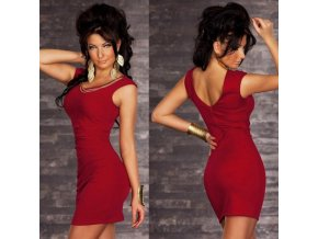 Elegantní dámské elastické šaty červené