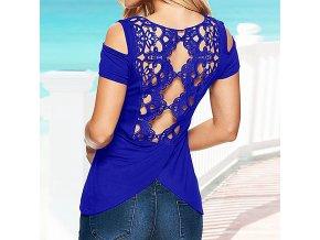 Modré letní tričko s krajkou