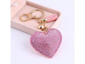 Luxusní klíčenka srdce s krystaly růžová