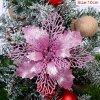 10cm Pink pcs glitter christmas flower artificial variants 4