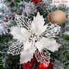 10cm White pcs glitter christmas flower artificial variants 3