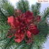 10cm Red pcs glitter christmas flower artificial variants 2