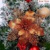 10cm Bronze pcs glitter christmas flower artificial variants 6