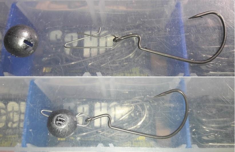 Assembling a Cheburashka sinker with an offset hook
