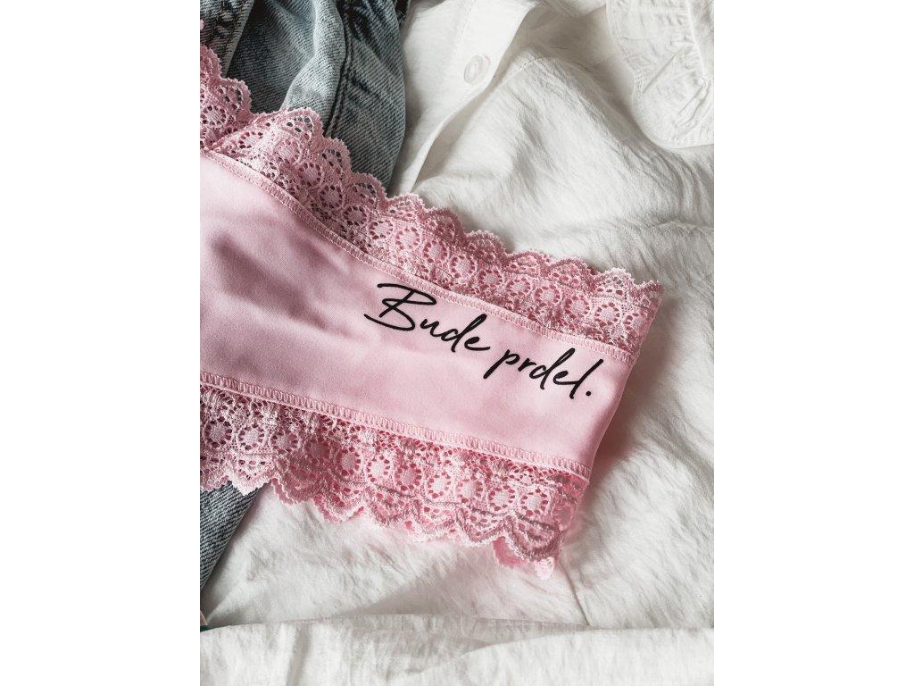 """3v1 Dámské růžové kalhotky """"Bude prdel"""" krajkové"""