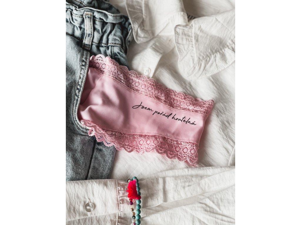 """3v1 Dámské růžové kalhotky """"Jsem pořád hratelná"""" krajkové"""