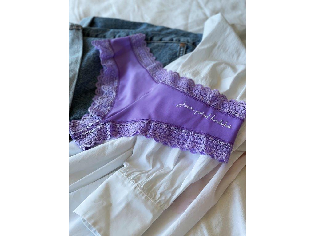 """3v1 Dámské lila kalhotky """"Jsem pořád hratelná"""" krajkové"""