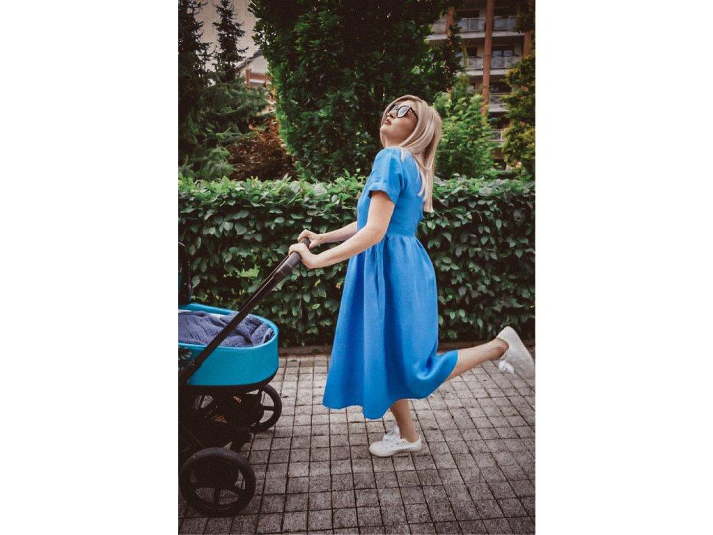 3v1 Lněné modré šaty