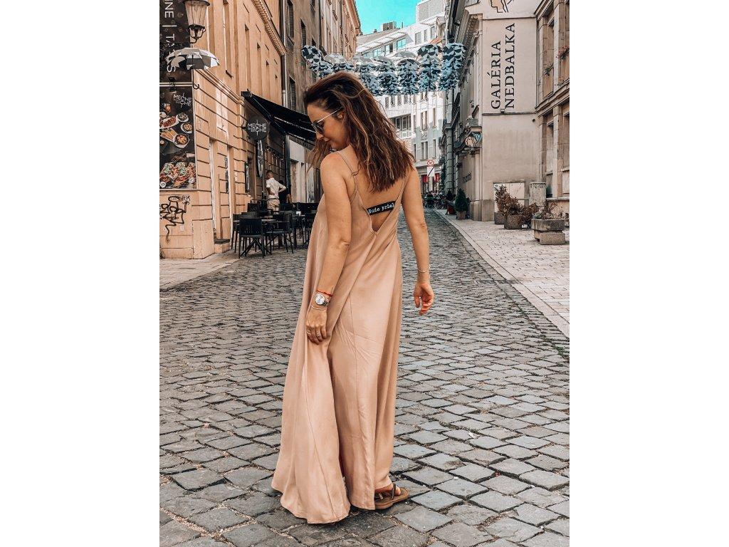 3v1 Dámské béžové šaty s gumou