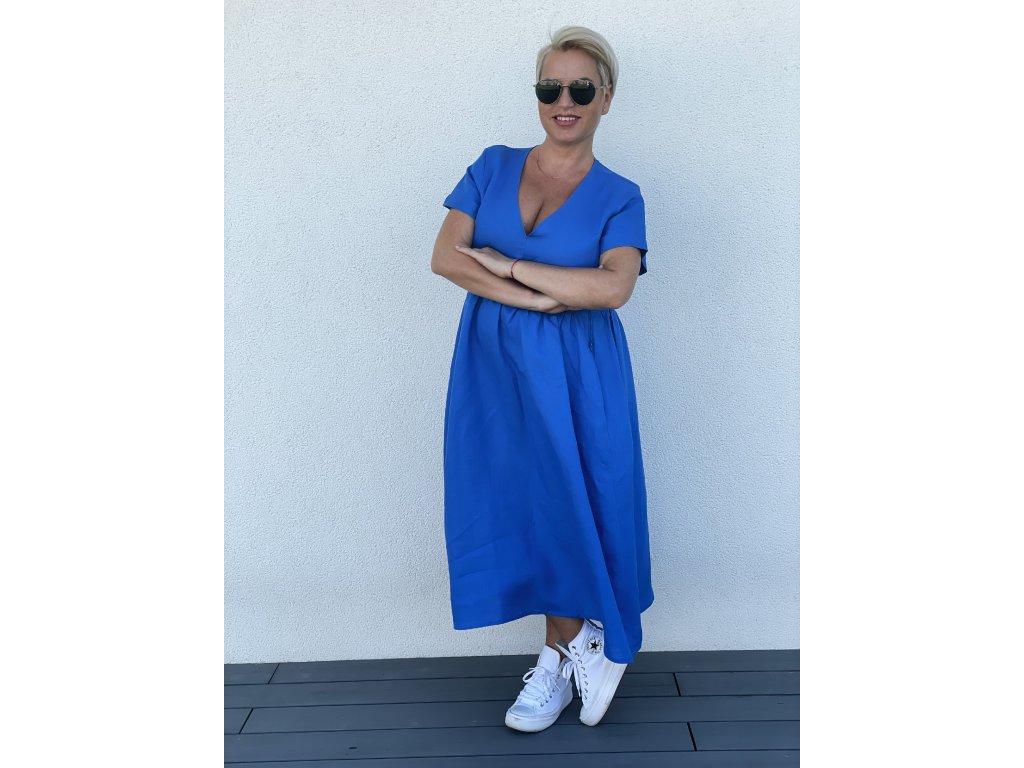 """3v1 Lněné modré šaty """"Den jako korálek"""""""