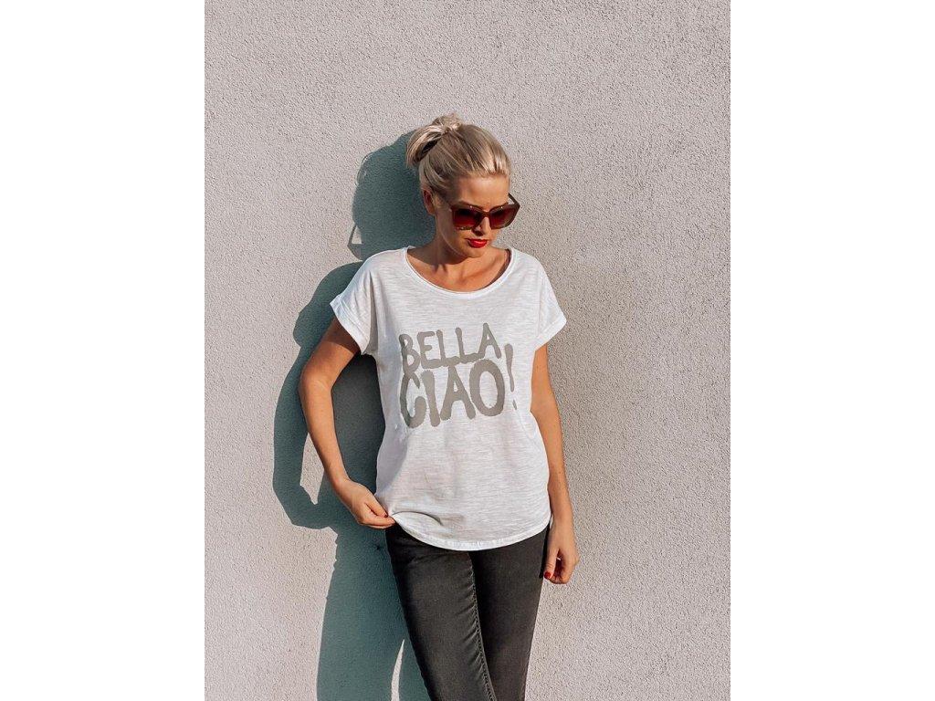 """3v1 Dámské bílé tričko """"Bella Ciao """""""