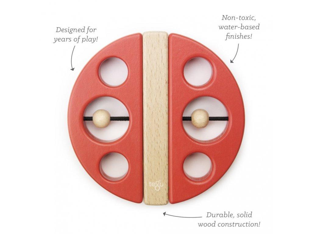 Magnetická hračka TEGU Swivel Bug Poppy Red1