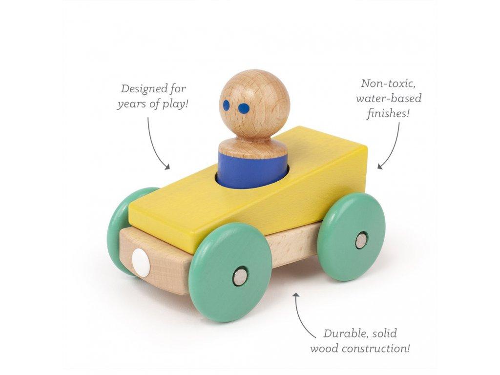 Magnetické autíčko TEGU Yellow & Teal1