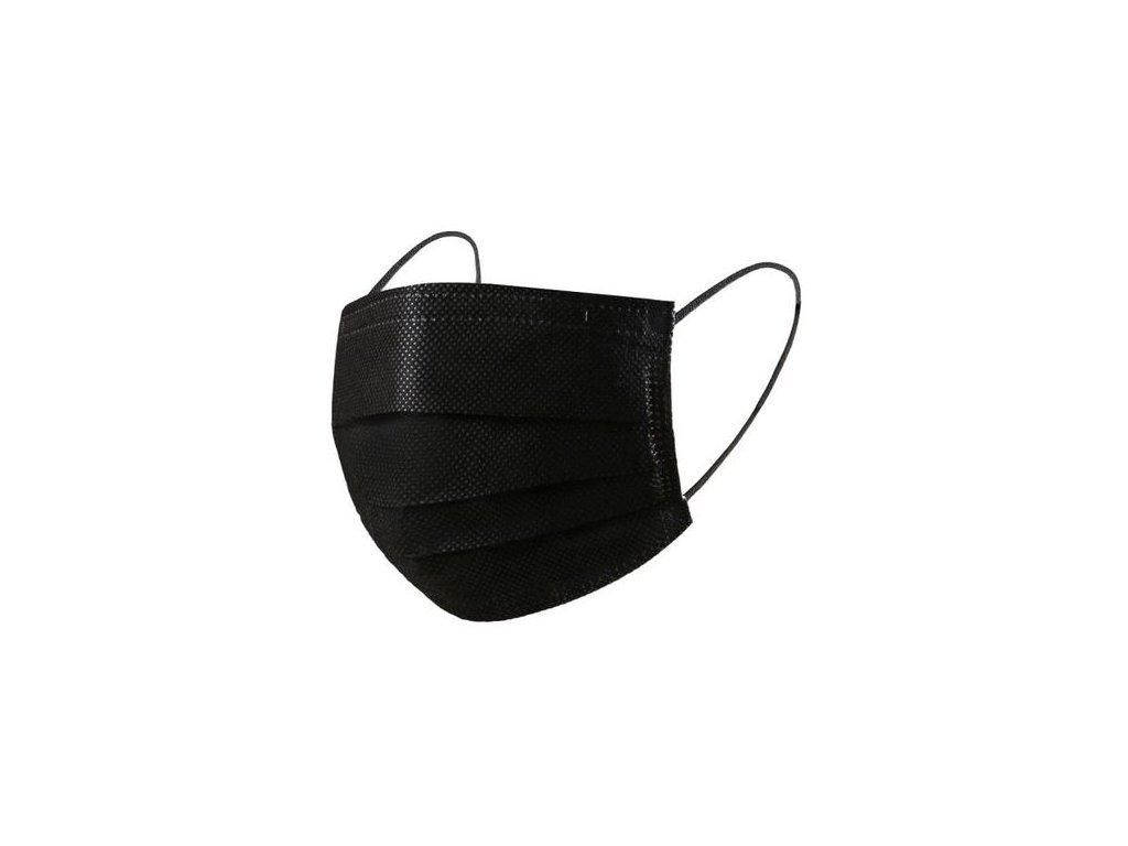 P.R.C. rúško jednorázové 3 vrstvové čierne 50 ks Non-Medical
