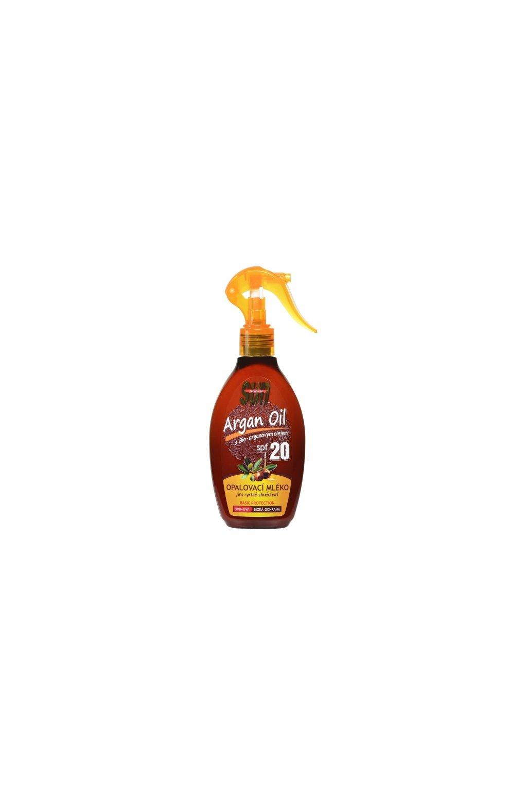 18236 vivaco opalovaci mleko s bio arganovym olejem spf 20 sun vital 200 ml