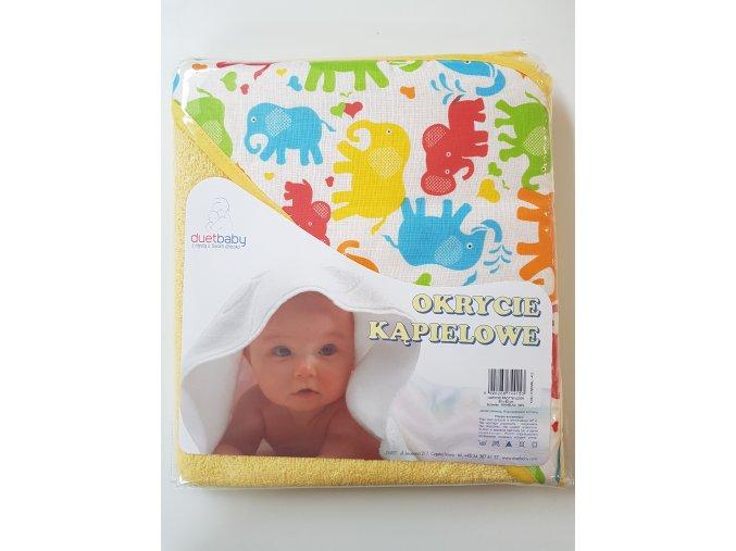 Dětská osuška s kapucí DuetBaby 80x80cm žlutá-sloni