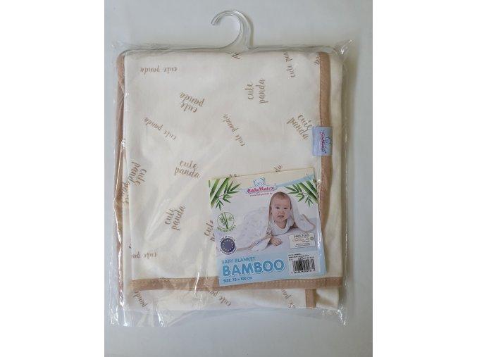 Dětská deka 75x100 cm Baby Matex Bamboo béžová panda