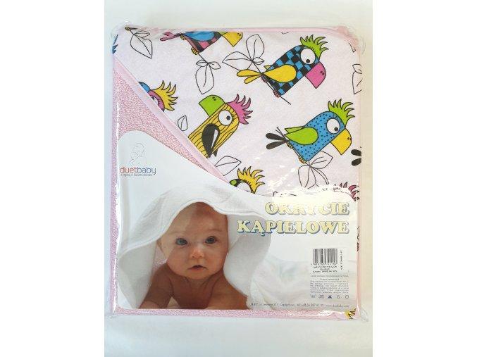 Dětská osuška s kapucí DuetBaby 80x80cm růžová-papoušci