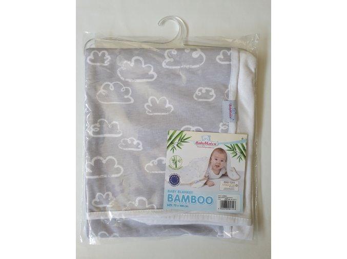 Dětská deka 75x100 cm Baby Matex Bamboo šedá mraky
