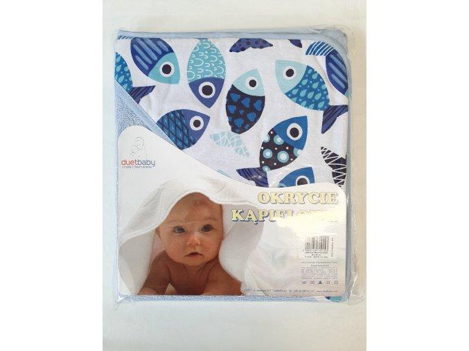 Dětská osuška s kapucí DuetBaby 80x80cm modrá-rybičky
