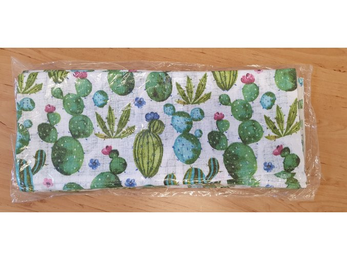 Bavlněná plenka 70x80cm, bílá kaktusy