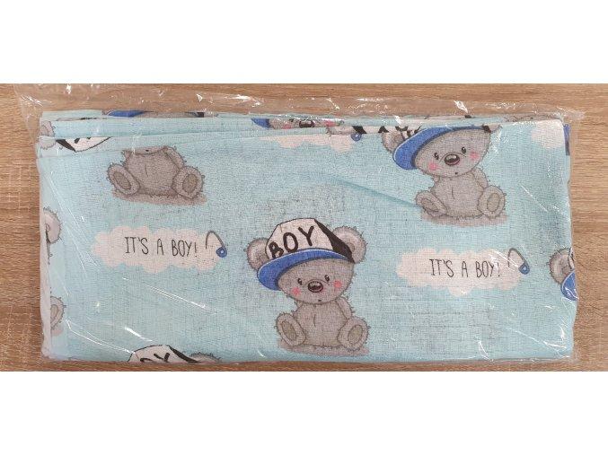 Bavlněná plenka 70x80cm, modrá medvídci