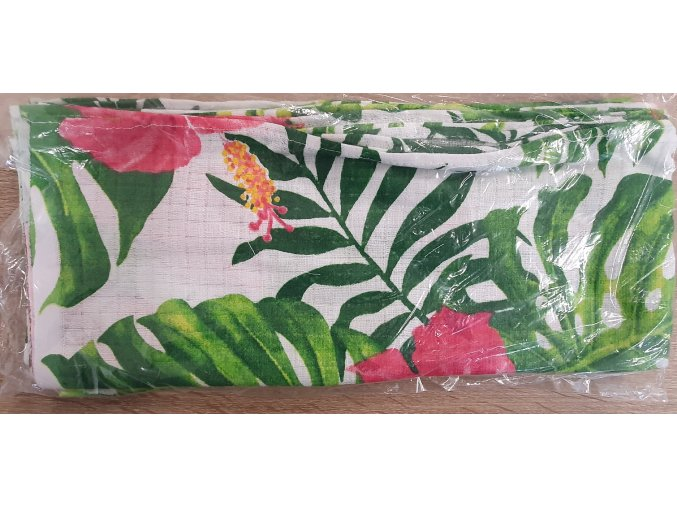 Bavlněná plenka 70x80cm, bílá džungle