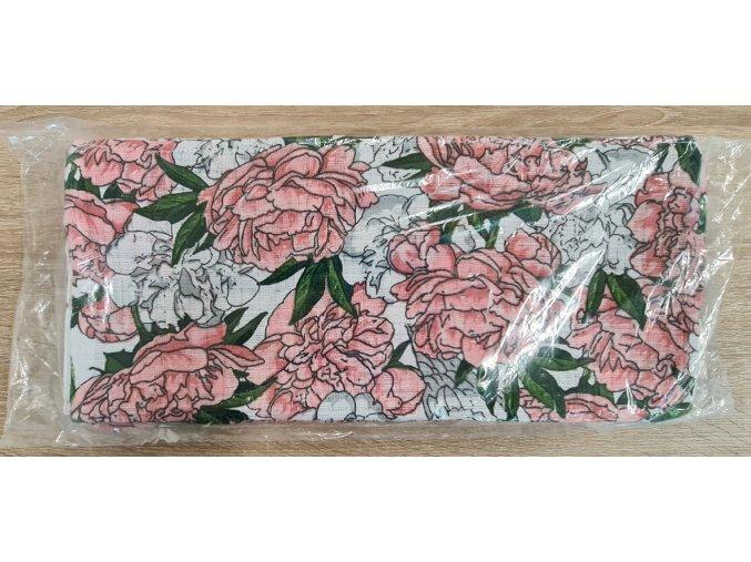 Bavlněná plenka 70x80cm, bílá růžičky III