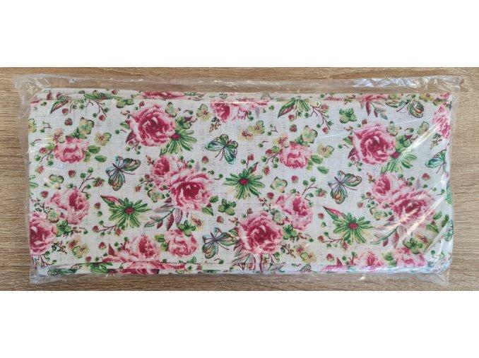 Bavlněná plenka 70x80cm, bílá růžičky VI