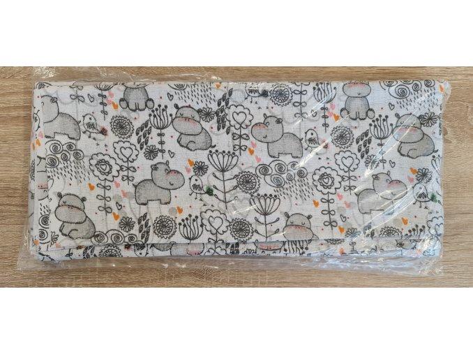 Bavlněná plenka 70x80cm, bílá hrošíci