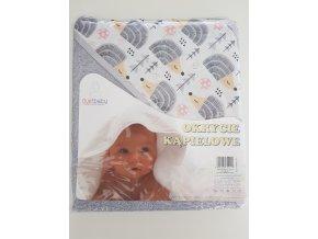 Dětská osuška s kapucí DuetBaby 80x80cm šedá-ježci