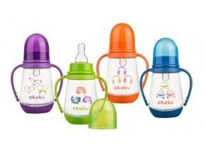 Akuku kojenecká láhev standart s úchyty 150ml