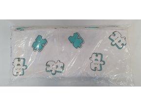 Flanelová plenka 70x80cm, bílá puzzle