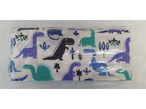 Flanelová plenka 70x80cm, bílá dinosauři