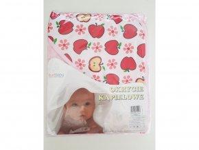 Dětská osuška s kapucí DuetBaby 80x80cm růžová-jablíčka LEVNÁ