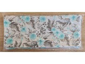 Bavlněná plenka 70x80cm, bílá růžičky modré