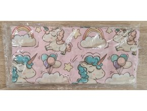 Bavlněná plenka 70x80cm, růžová jednorožci