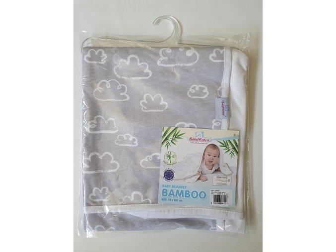 2450 detska deka 75x100 cm baby matex bamboo seda mraky
