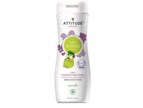 Detske telove mydlo a sampon (2 v 1) ATTITUDE Little leaves s vuni vanilky a hrusky 473 ml