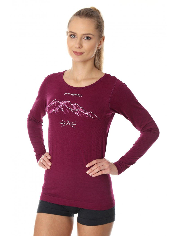 Brubeck dámské tričko dlouhý rukáv OUTDOOR WOOL PRO (Barva Fialová, Velikost XL)