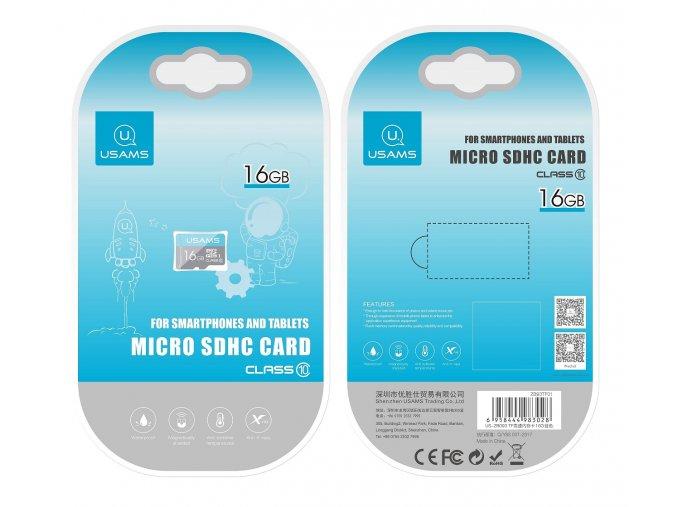 Usams micro SDHC 16GB vysokorýchlostná pamäťová karta