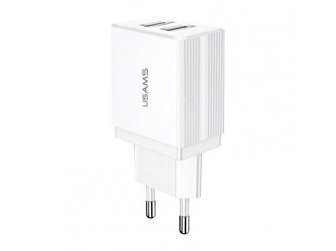 Usams T24 Dual USB 2.1A univerzálna sieťová nabíjačka biela