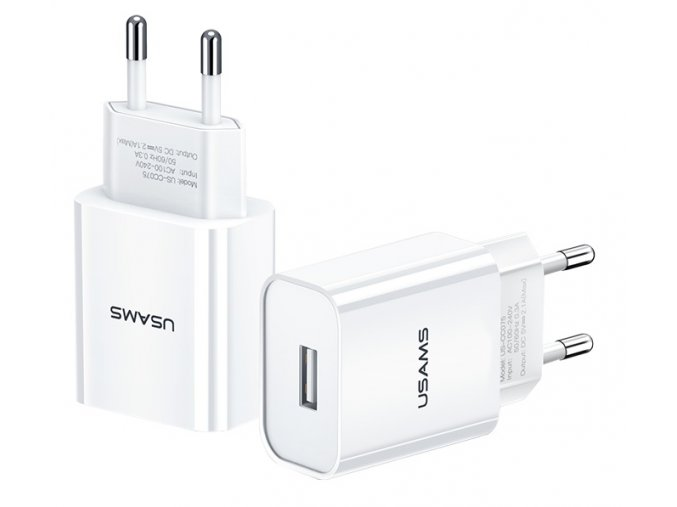Usams T18 USB 2.1A univerzálna sieťová nabíjačka biela