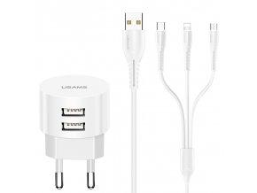Usams T20 Dual USB 2.1A sieťová nabíjačka a 3 v 1 kábel (Lightning pre iPhone, Micro USB, Type C), biely set