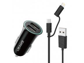 Usams CC013 Dual USB 2.1A univerzálna autonabíjačka a 2 v 1 (Micro USB, iPhone Lightning) kábel, čierny set