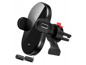 Usams CD132 15W indukčná bezdrôtová rýchlonabíjacia automatická čierna autonabíjačka a držiak 2 v 1 do vetracej mriežky
