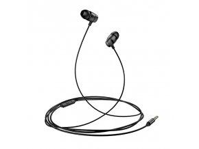 Usams EP36 externé 1.2m káblové, štupľové slúchadlá s kovovým prevedením čierne matné