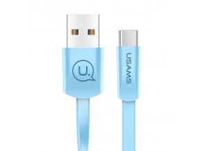 Usams SJ200 U2 plochý dátový a nabíjací kábel Type C 2A modrý 1.2m