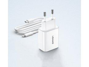 USAMS T14 CC069 PD3.0 18-30W inteligentná, vysokorýchlostná USB-C sieťová nabíjačka a PD vysokorýchlostný Type C / Lightning iPhone kábel biely set  a Type C / Lightning iPhone kábel biely set